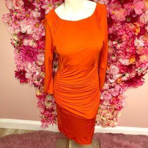 Karen Millen Orange Ruched Dress Size 8